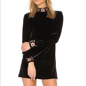 Tularosa Velvet Minidress w/ Floral Embroidery